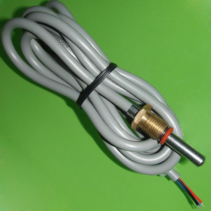 数字温度传感器技术参数: 1.PVC连接线,耐温100 2.线长1米(可以定制) 3.活动螺纹 M10*1 核心元件DS18B20元件主要参数: 1.测温范围:-55~+125 2.测量精度:±0.5@(-10~85) 3.最小分辨率:0.0625 4.供电电压:3~5.5VDC